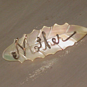 SALE Vintage Mother of Pearl Pin, Mother in Script