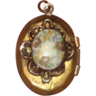 Vintage Enamel Floral & Brass Photo Locket Charm