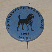 SALE Vintage Easthampton Mass. Beagle Club Tin Pin Back Button 1968