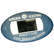 SALE Vintage GE Hooksett Plant NY Employee Photo ID BADGE Flight Propulsion Division