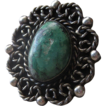 Vintage Ornate  Hand Crafted Large Sterling Silver & Turquoise Ring
