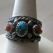 REDUCED Vintage Native American Turquoise & Coral Sterling Silver Ring