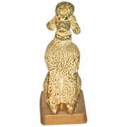 SALE Vintage &quot;Just in Case&quot; Figural Cast Metal Poodle Dog Pen Holder & Pen