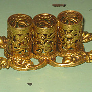 SALE Vintage Stylebuilt New York Gold-Tone Filigree 3-Lipstick Holder