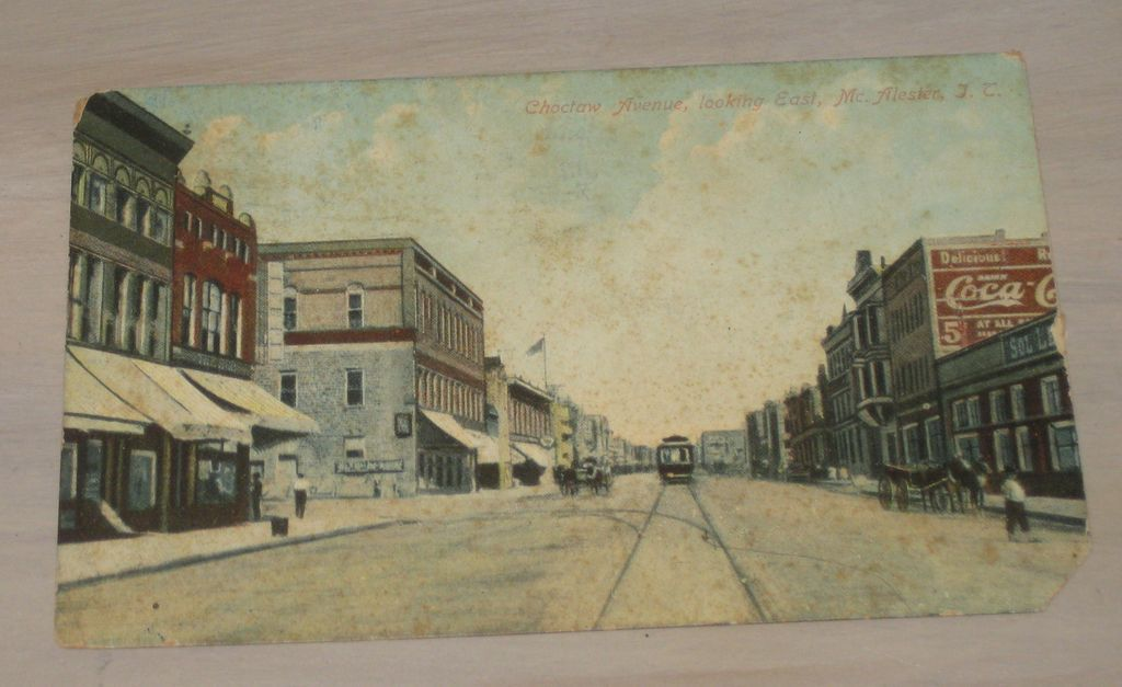 Downtown Main Street Mc Alester Oklahoma Coca Cola Sign Antique Postcard 1911