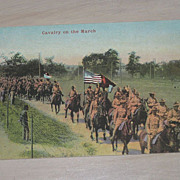 SALE Cavalry on the March Vintage Military Soldiers on Horseback Postcard Unused