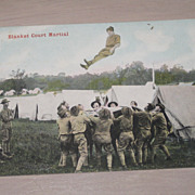 SALE Vintage Military Postcard &quot;Blanket Court Martial&quot; WWI Cavalry Soldiers