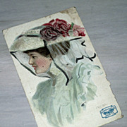 SALE Vintage Lady Postcard, Artist  F. Earl Christy, Advertising Friedman Shelby Shoes