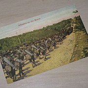 SALE Infantry on the March Soldiers  Military Postcard