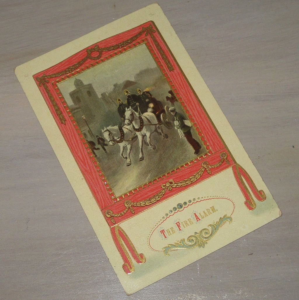 The Fire Alarm, Fire Brigade Antique postcard horse & carriage dated 1911