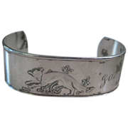 SALE Rare David Anderson Norway Wide 830 Silver Cuff Bracelet Fox, Bear & Kiwi Bird