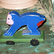 SALE Adorable Hand Painted Wooden Monkey on Wheels Toy Made in Japan