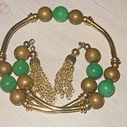 REDUCED Gorgeous Vintage Chrysoprase Bead Tassel Wrap Bracelet