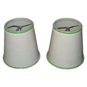 REDUCED Vintage Set of  Metal Lamp Shades Cream & Green Paint