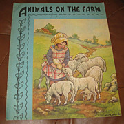 SALE PENDING C. M. Burd ANIMALS ON THE FARM Saalfield 1936 Children's Linen Book