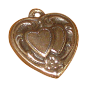 SALE Vintage Sterling Silver Double Heart Puffy Charm