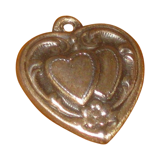 Vintage Sterling Silver Double Heart Puffy Charm