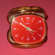 SALE Vintage Starlet  Fold Up Travel  Alarm Clock Red Face Circa 1950's