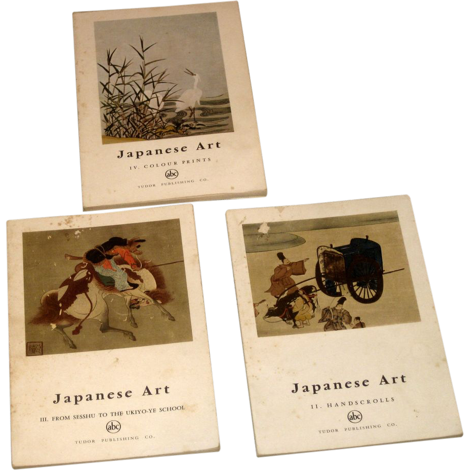 3 vintage books Circa 1958 Japanese Art  Illustrated by Tudor Publishing