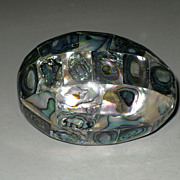SALE Vintage Abalone Encrusted Mosaic Mother of Pearl Egg Paperweight