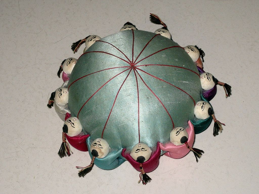 Large Vintage Chinese Men Satin Pin Cushion