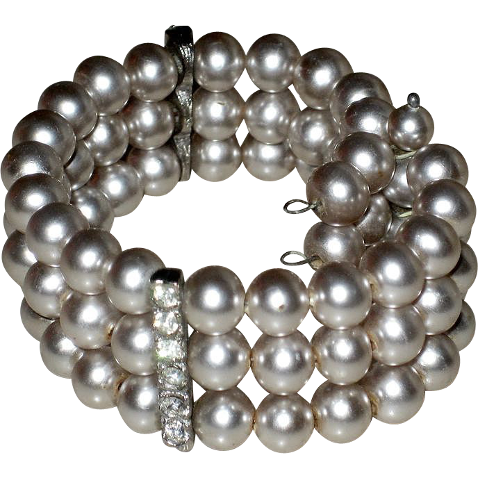 Vintage Faux Pearl and Rhinestone Accents Wide Wire Wrap Bracelet