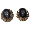 Vintage Signed ' W. Germany ' Victorian Revival Glass Cameo Earrings