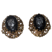SALE Vintage Signed ' W. Germany ' Victorian Revival Glass Cameo Earrings