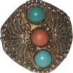 Gorgeous Vintage Silver with Gold Overlay Filigree Ring Set with Coral & Turquoise