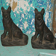 SALE Vintage Cast Iron German Shepherd Dog Book Ends