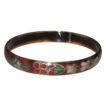 Vintage Cloisonne Bangle Bracelet Flowers