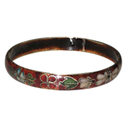 SALE Vintage Cloisonne Bangle Bracelet Flowers