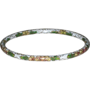 SALE Vintage Rolled Edge Cloisonne Bangle Bracelet  Crisp White with Florals