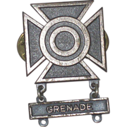 SALE Vintage WWII Military Marksman Grenade Expert Pin Pinback Badge