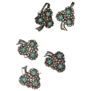 SALE Sterling Silver & Turquoise Flower Scatter Pins & Matching  Earrings