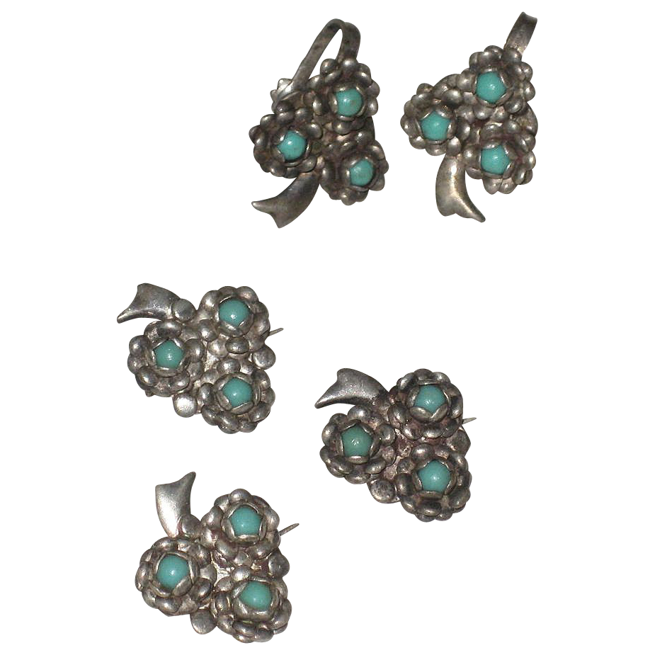 Sterling Silver & Turquoise Flower Scatter Pins & Matching  Earrings