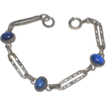 Child's Victorian Sterling Silver & Blue Glass Cabochon Bracelet