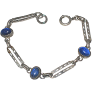 SALE Child's Victorian Sterling Silver & Blue Glass Cabochon Bracelet