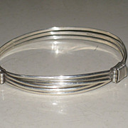 SALE Unusual Vintage 800 Silver Bangle Bracelet Adjustable