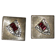 REDUCED Vintage Coro Gold Tone Earrings, Shield Design Red Stone & Rhinestone Clip Back