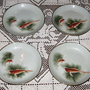 SALE Set of 4 Beautiful Vintage Asian Style Koi Fish Cabinet Plates