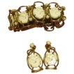 HUGE Vintage Gold Tone & White Glass Chunky Bracelet & Earrings Demi Parure