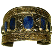 SALE Stunning Vintage Wide Bangle 800 Silver & Lapis Stone Cuff Bracelet with Gilt Accents