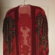 SALE Exceptional Vintage Hand Beaded Tassels & Applique  Robe with Peacock & Roses Design