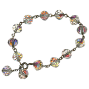 SALE Stunning Aurora Borealis Crystal Bracelet with Dangles