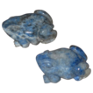 Pair of Adorable Miniature Blue Soapstone Frogs Vintage