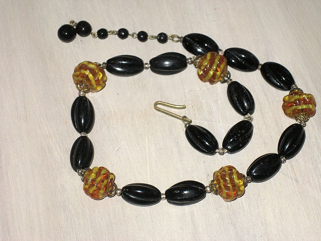 Vintage Western Germany Black & Swirled Amber Glass Bead Necklace