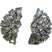 SALE Sparkling Vintage Fan Shaped Rhinestone Earrings, Clip Back
