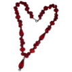 Vivid Cherry Red  Glass Faceted Vintage Bead Dangle Necklace