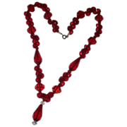 REDUCED Vivid Cherry Red  Glass Faceted Vintage Bead Dangle Necklace
